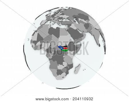 South Sudan On Globe Isolated