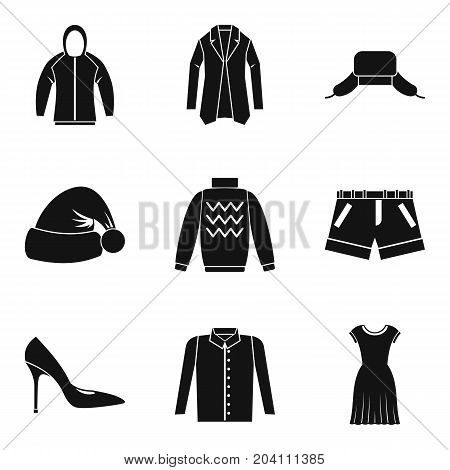 Winter clothing icon set. Simple set of 9 winter clothing vector icons for web design isolated on white background
