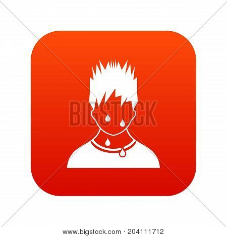 Sweaty man icon digital red for any design isolated on white vector illustration