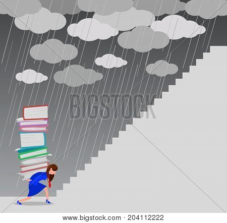 Very busy female manager trying to climb a staircase under the storm, concept illustration