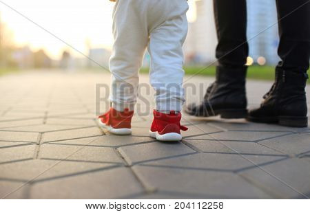 Baby's first steps. The first independent steps