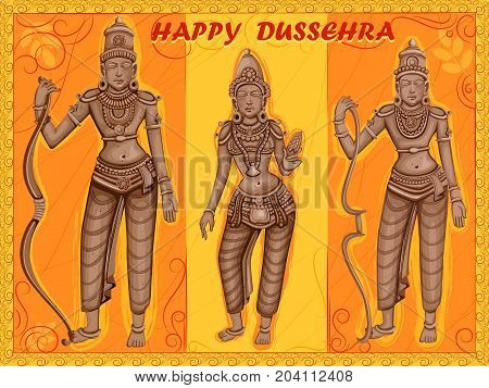 Vector design of Statue of Indian God Rama, Laxmana and Sita for Happy Dussehra festival of India