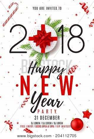 Happy New Year Poster Invitation. Top view on gift box with red bow on white backdrop. Vector illustration with confetti, serpentine and fir branches. Christmas greeting card with toys.Christmas greeting card with toys.