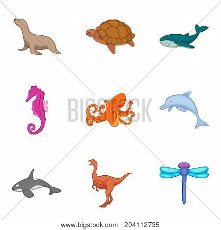 Marine fauna icons set. Cartoon set of 9 marine fauna vector icons for web isolated on white background