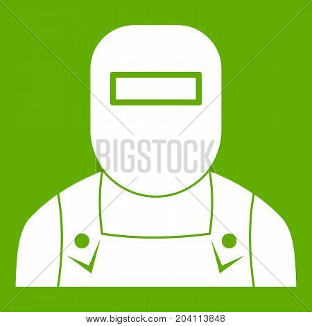 Welder icon white isolated on green background. Vector illustration