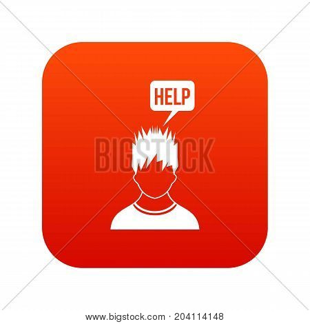 Man needs help icon digital red for any design isolated on white vector illustration