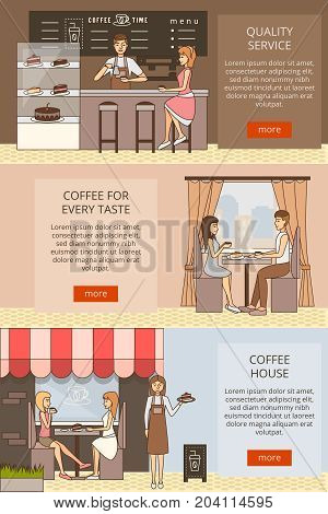 Vector set of coffee time horizontal banners. Quality service, Coffee for every taste and Coffee house flat style design elements for business advertising.