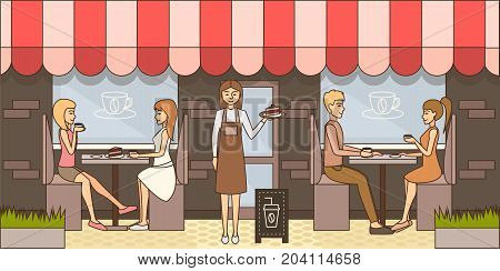 Vector illustration of waitress holding plate with slice of cake, people sitting at tables and drinking coffee with cake. Coffee house exterior. Coffee time concept flat style design element.