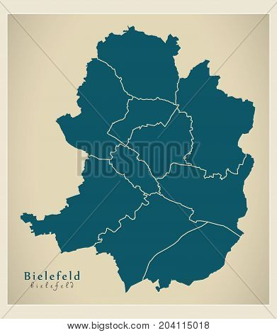 Modern City Map - Bielefeld City Of Germany With Boroughs De