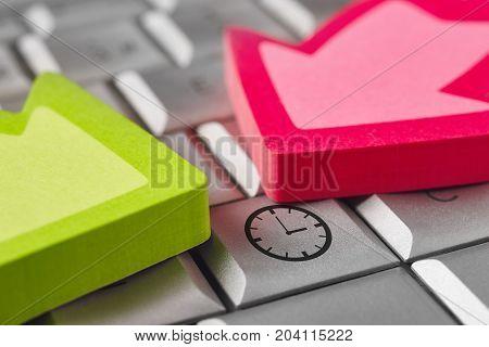 Time alert warning symbol on a keyboard laptop. Pressure work