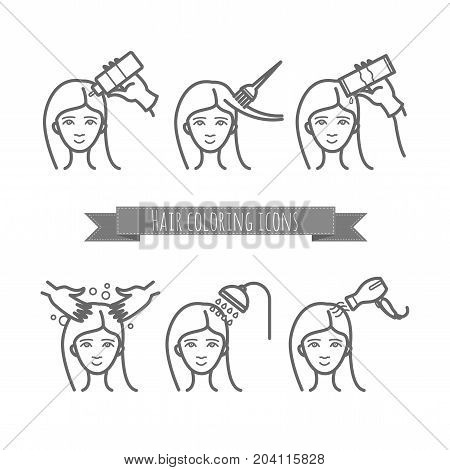 hair care icons, coloring, treatment, styling for your design