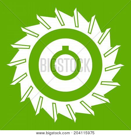 Circular saw disk icon white isolated on green background. Vector illustration