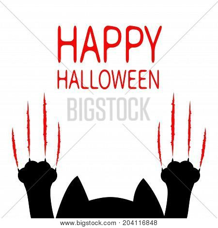 Happy Halloween card. Cartoon black cat. Paw print Head silhouette. Red bloody claws animal scratch scrape track. Cute funny character. White background. Isolated. Flat design. Vector illustration