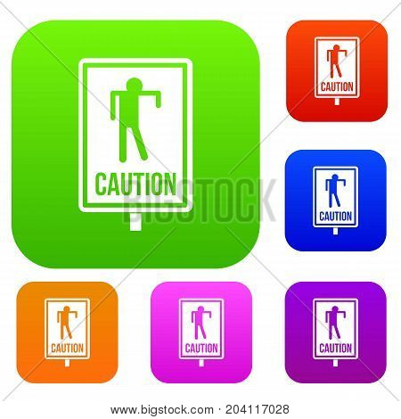 Zombie road sign set icon color in flat style isolated on white. Collection sings vector illustration