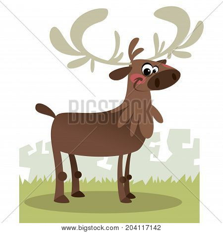 Cartoon illustration of a sweet reindeer looking at us isolated in white background