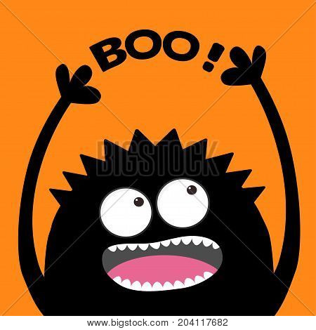 Screaming monster head silhouette looking up to Boo text. Two eyes teeth tongue hands. Black Funny Cute cartoon baby character. Happy Halloween. Flat design. Orange background. Vector