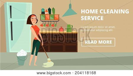 Vector home cleaning service horizontal banner. Charwoman washing flooring with wet mop, illustration in cartoon style for cleaning business advertising.