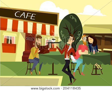 Funny waiter concept vector illustration. Waiter serving coffee to visitor male sitting at table and reading menu. Young couple dating. Street cafe exterior.