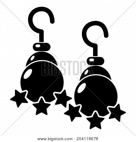 Moon star earrings icon . Simple illustration of moon star earrings vector icon for web design isolated on white background