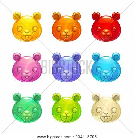 Cute jelly beaver faces. Vector colorful gummy candy icons.