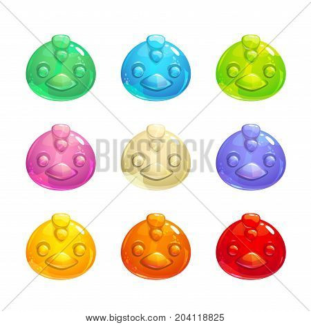 Cute jelly bird faces. Vector colorful gummy candy icons.