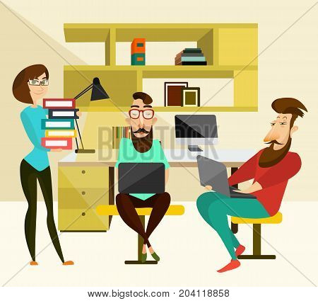 Office teamwork concept vector illustration. Coworking team. Two men using laptops and woman holding pile of folders with documents, modern office interior with office equipment and supplies.