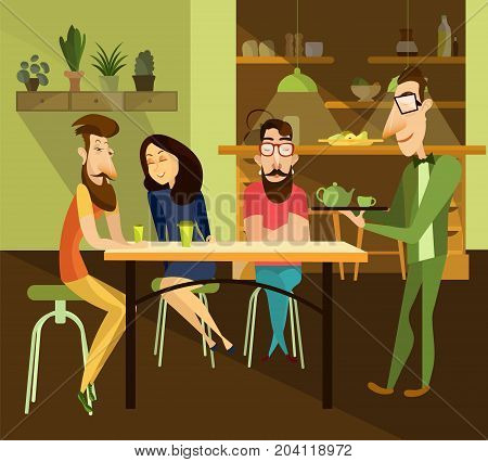 Vector illustration of waiter serving tea to guests. People sitting at the table and talking to each other. Restaurant interior.