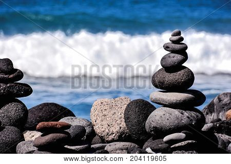 Stack Of Stones On The Sea Beach