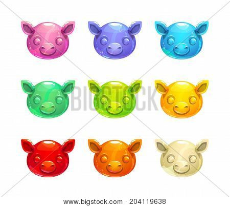 Cute jelly pig faces. Vector colorful gummy candy icons.