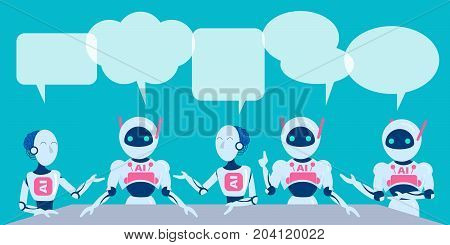 ai with speech bubble on the blue background