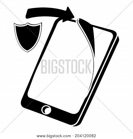 Protection replacement screen smartphone icon. Simple illustration of protection replacement screen smartphone vector icon for web
