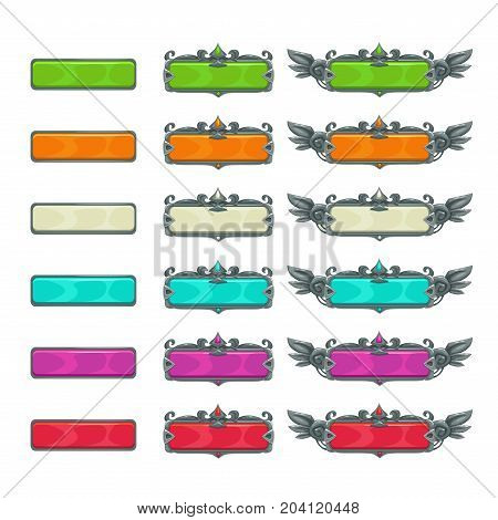 Colorful horizontal buttons for game or web design. Title banners set. Vector GUI assets, isolated on white background.
