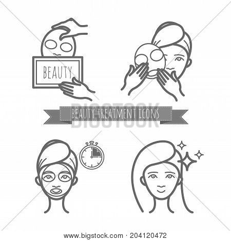 Beauty treatment icons, facial mask applying for your design