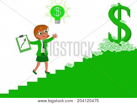Business woman climbing the stairway of richness and wealth vector illustration