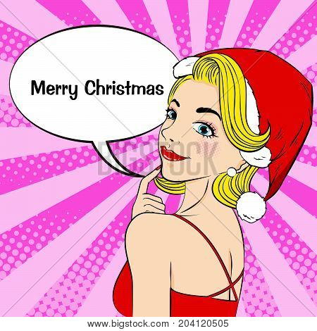 cartoon pop of woman with merry christmas on the pink background