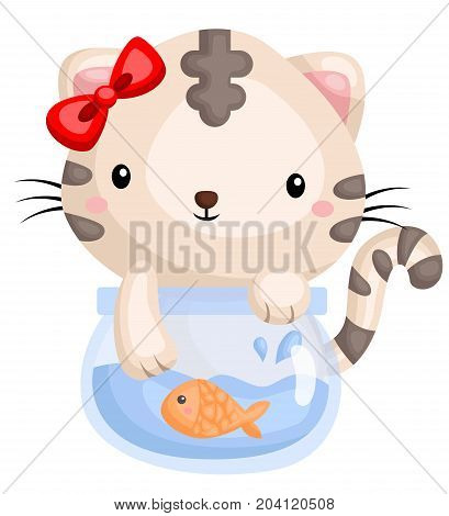 a cat playing with his fishbowl and goldfish