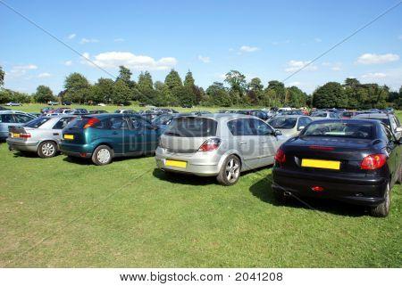 Cars Parking In Parking Lot/Parking Area/Car Park/Field