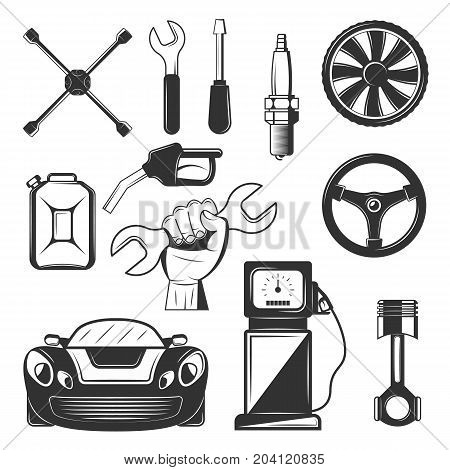 Vector set of vintage car service symbols, icons isolated on white background. Black templates for logos and print.