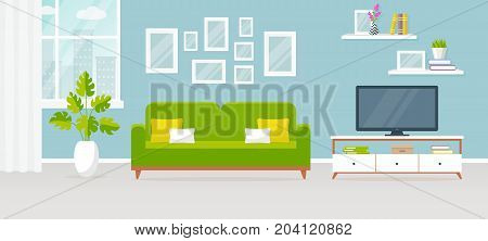 Modern interior of the living room. Vector banner. Design of a cozy room with sofa TV stand window and decor accessories.