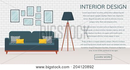 Web banner with modern interior of the living room and place for text. Design of a cozy room with sofa floor lamp and decor accessories. Vector illustration.