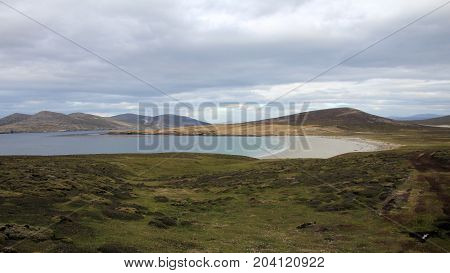 Coastline, beach at Saunders Island, Falkland Islands, Islas Malvinas