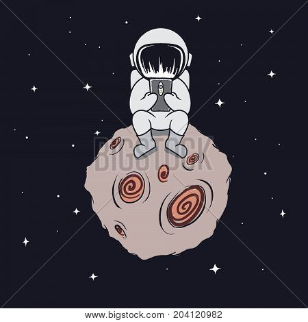 Cute astronaut play on smartphone in outer space.Spaceman sits on Moon and see to mobile phone.Prints vector design