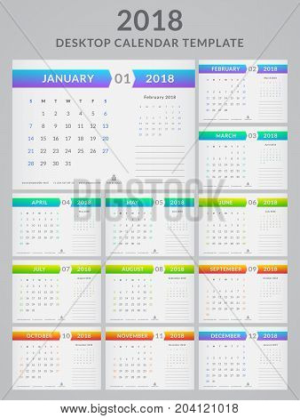 Calendar for the Year 2018. Vector template. Set of 12 monthly pages with place for notes. Week starts on Sunday.