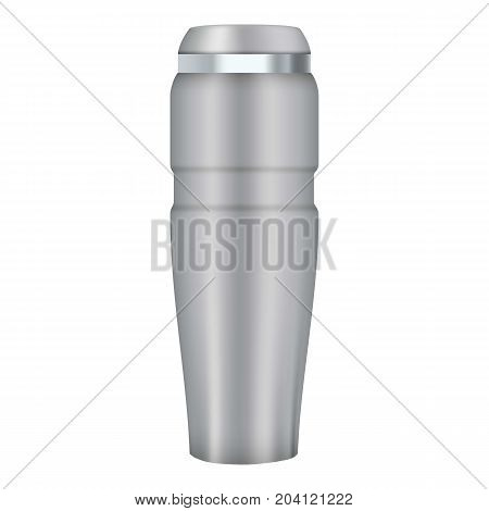 Thermos cup mockup. Realistic illustration of thermos cup vector mockup for web design isolated on white background