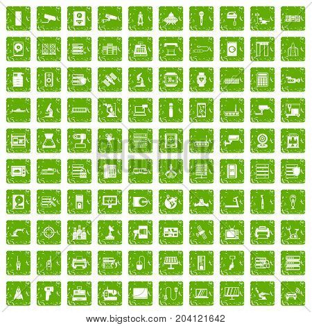 100 hardware icons set in grunge style green color isolated on white background vector illustration