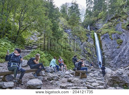 Zakopane, Poland - September 9, 2017: Waterfall Siklawica On 9 S