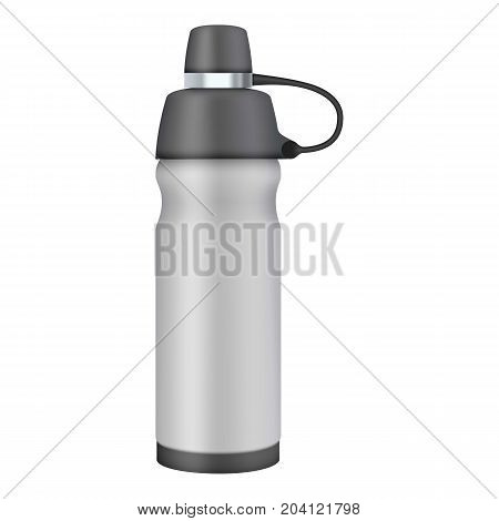 Travel thermo flask mockup. Realistic illustration of travel thermo flask vector mockup for web design isolated on white background