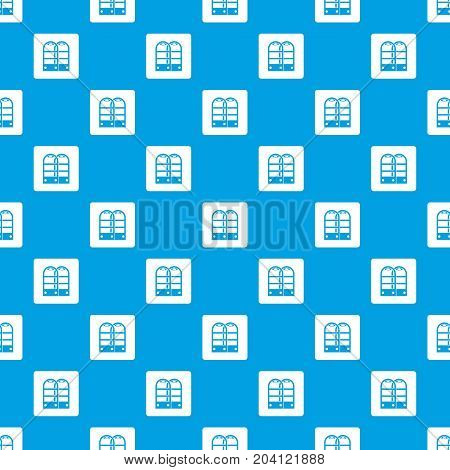 Shop security anti theft sensor gates pattern repeat seamless in blue color for any design. Vector geometric illustration
