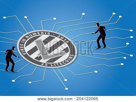 An Illustration of businessman walking on circuit towards crypto currency symbol
