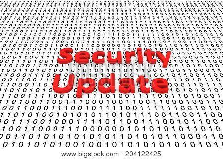 Security update in the form of binary code, 3D illustration